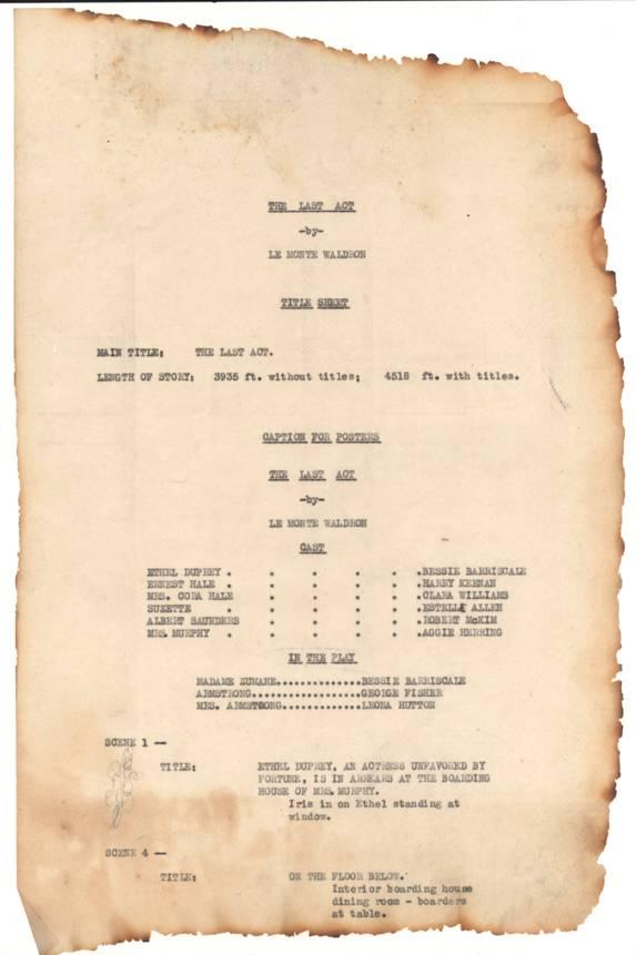 Page de générique de The Last Act. Il est pris soin de préciser l'origine littéraire et théâtrale du film, en rappelant même que l'actrice principale a déjà interprété le rôle au théâtre.